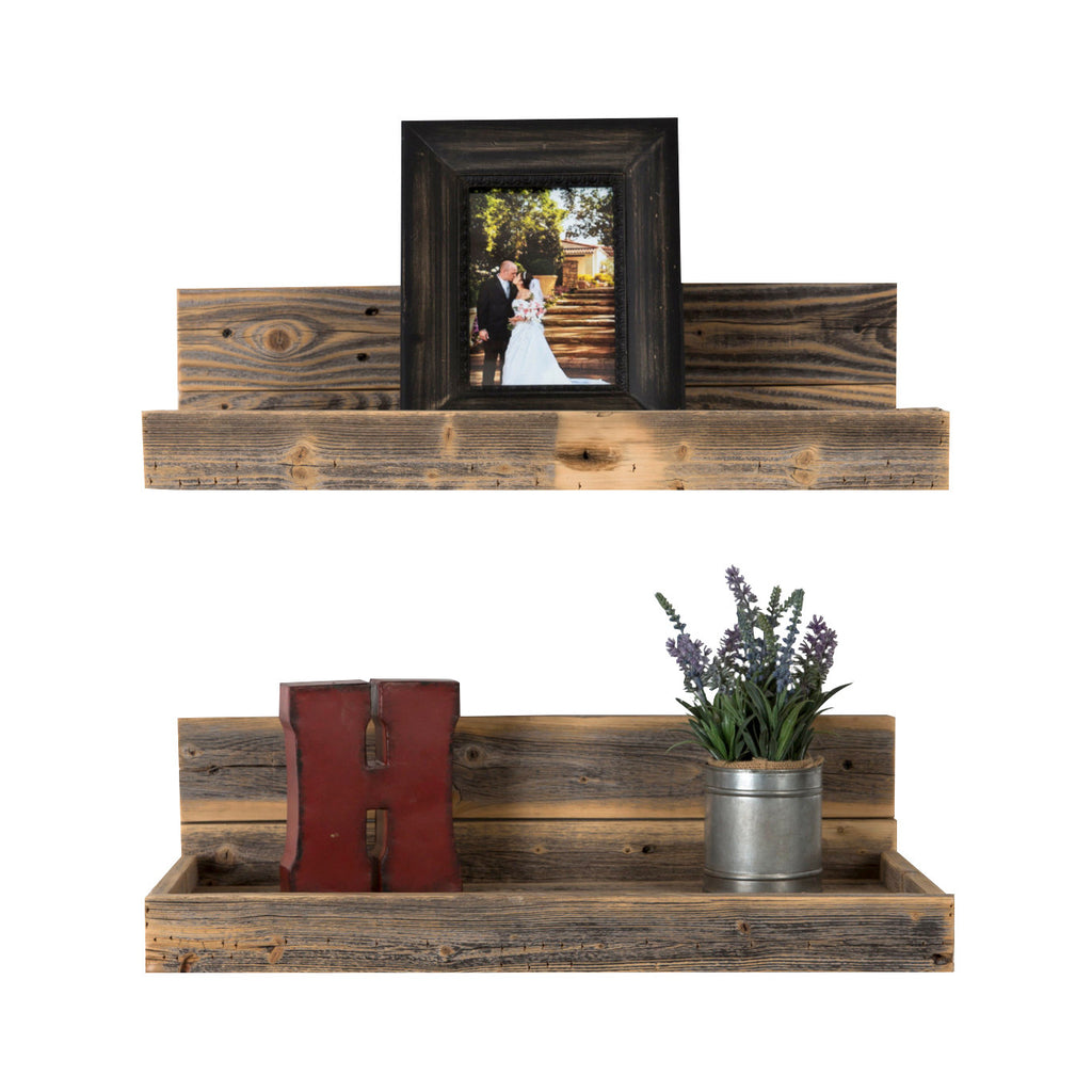 Reclaimed Wood Floating Shelves - Set of 2