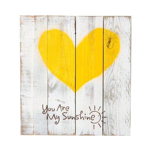 Reclaimed Wood Heart Sign (You Are My Sunshine)
