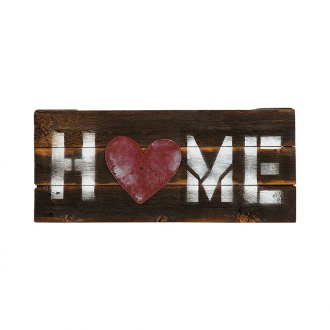 "Reclaimed Wood ""Home"" Sign with Red Heart"