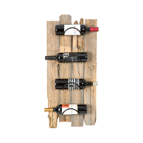 Reclaimed Wood Wall Wine Rack - Weathered