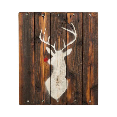 Christmas Stag Sign on Reclaimed Wood