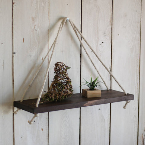Rustic Hanging Rope Shelf