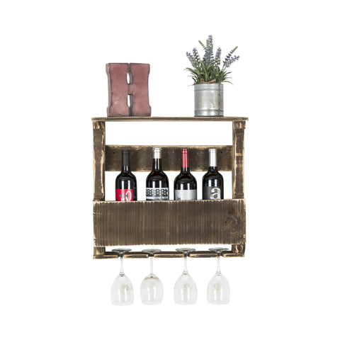 Rustic Wine and Glass Rack - Small