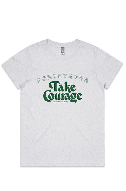 take courage tee white marle with green