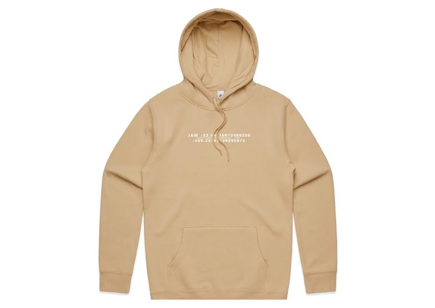 juan hoodie tan with white