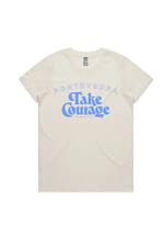 take courage tee natural with blue