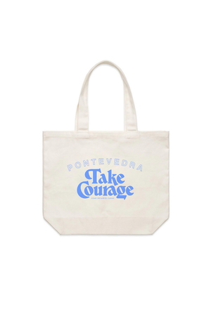 take courage tote blue
