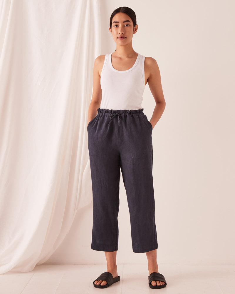 assembly label ollie linen pant true navy