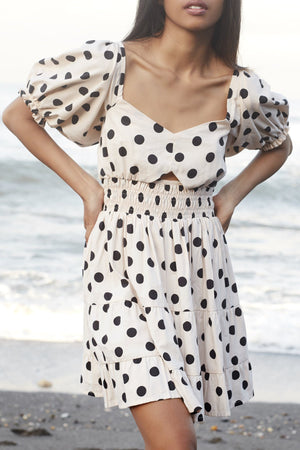 rue stiic amara mini dress polka dot ivory