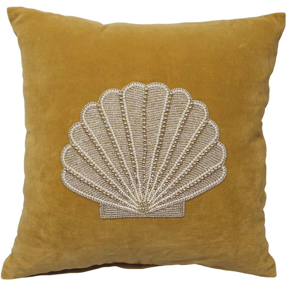 a la velvet cushion cover gold shell