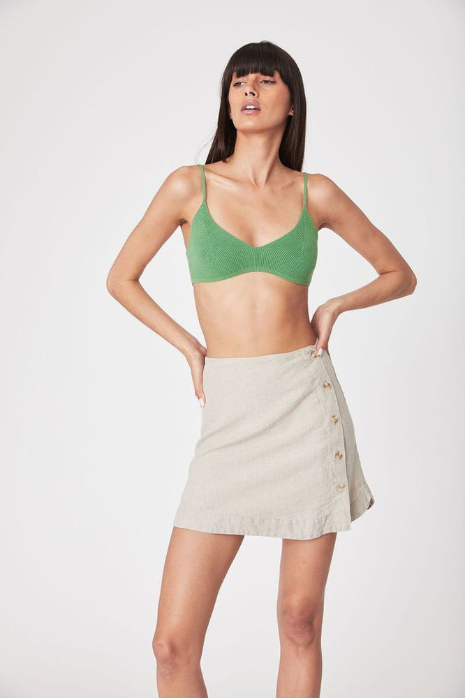 rowie rose knit bralette kelly green