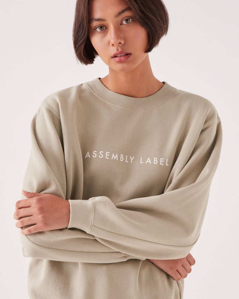assembly label logo fleece washed khaki