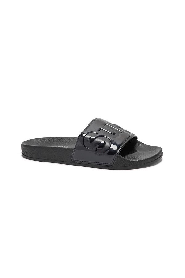 superga 1908 pu varnish pool slide black