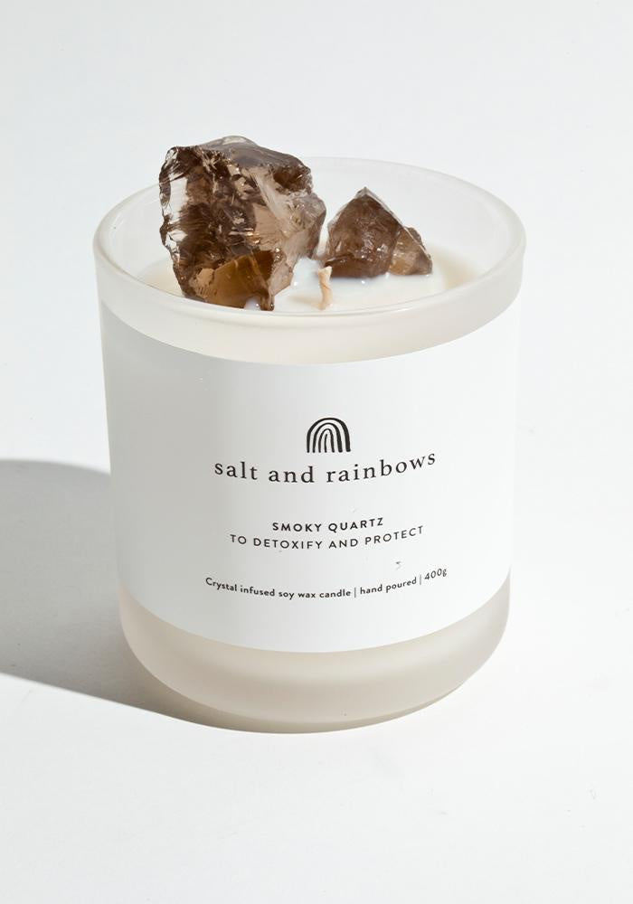 salt and rainbows smoky quartz candle in sunshine and happiness
