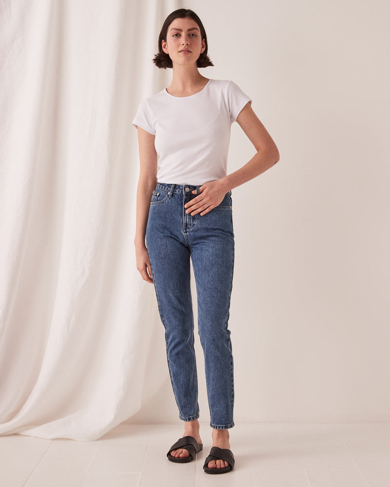assembly label high waisted rigid jean vintage blue