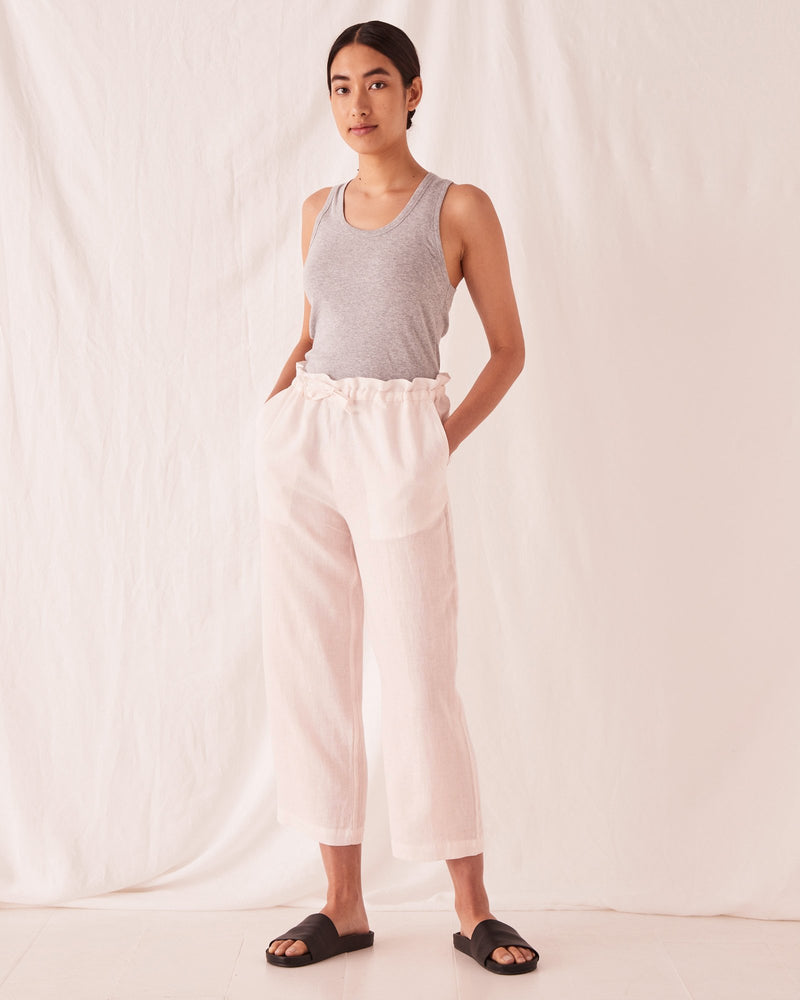 assembly label ollie linen pant pink dew