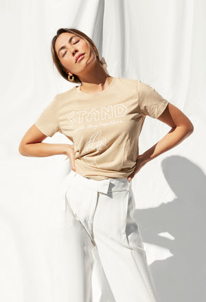 stand apart tee tan with white
