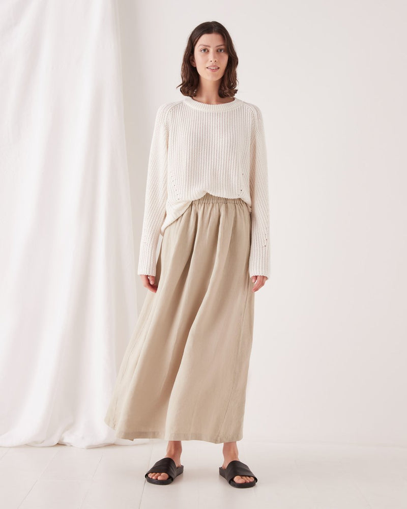 assembly label noma linen skirt washed khaki
