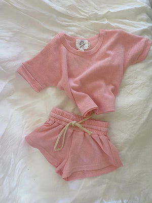 by billie waffle cotton set pink