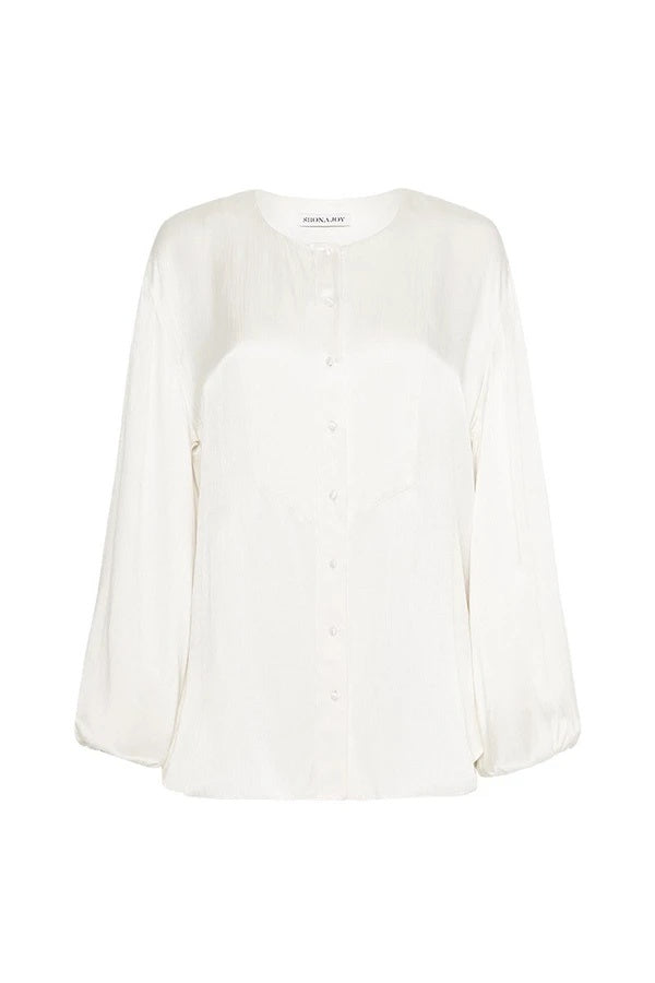 shona joy dalton balloon sleeve blouse ivory
