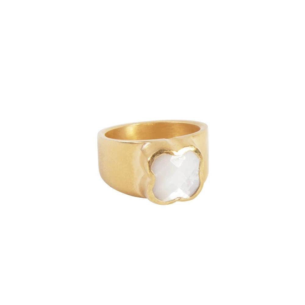 fairley mother of pearl clover ring
