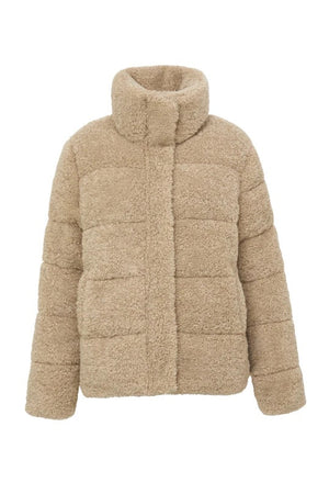 unreal fur golden years puffer jacket biscotti