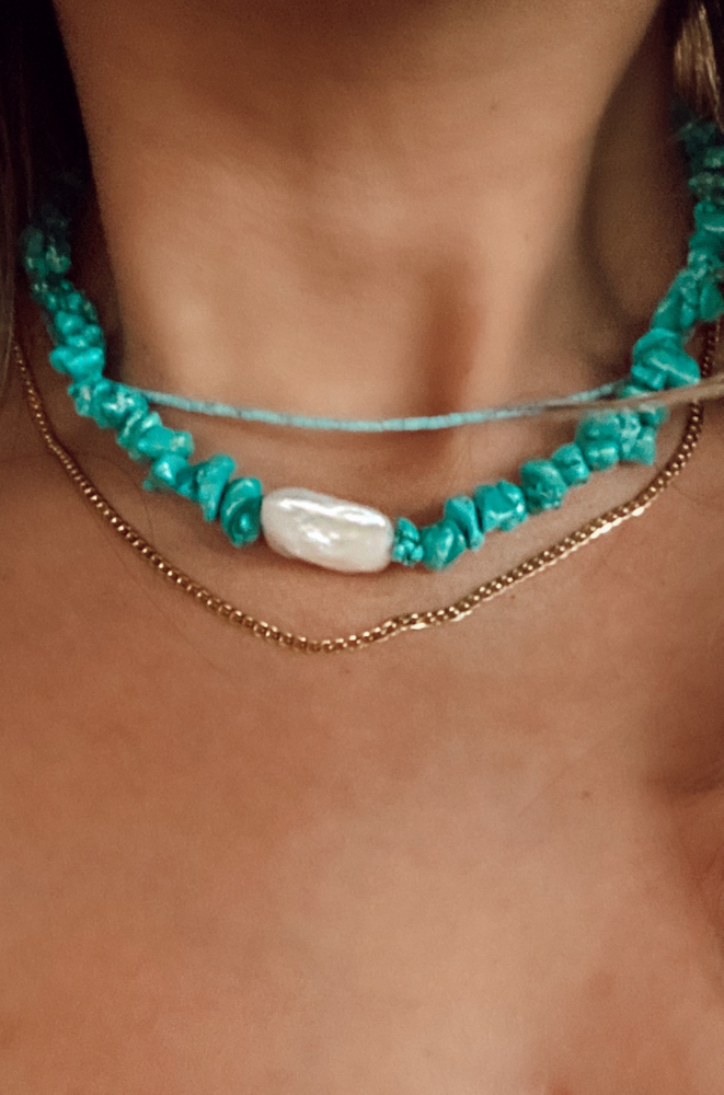 raw turquoise and pearl choker necklace