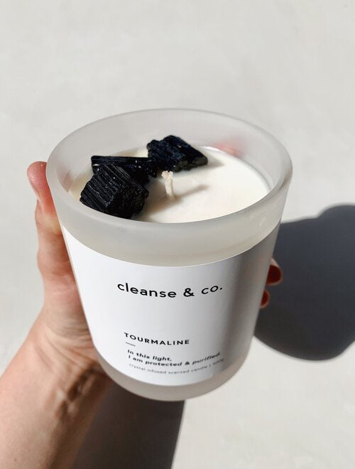 cleanse and co black tourmaline candle