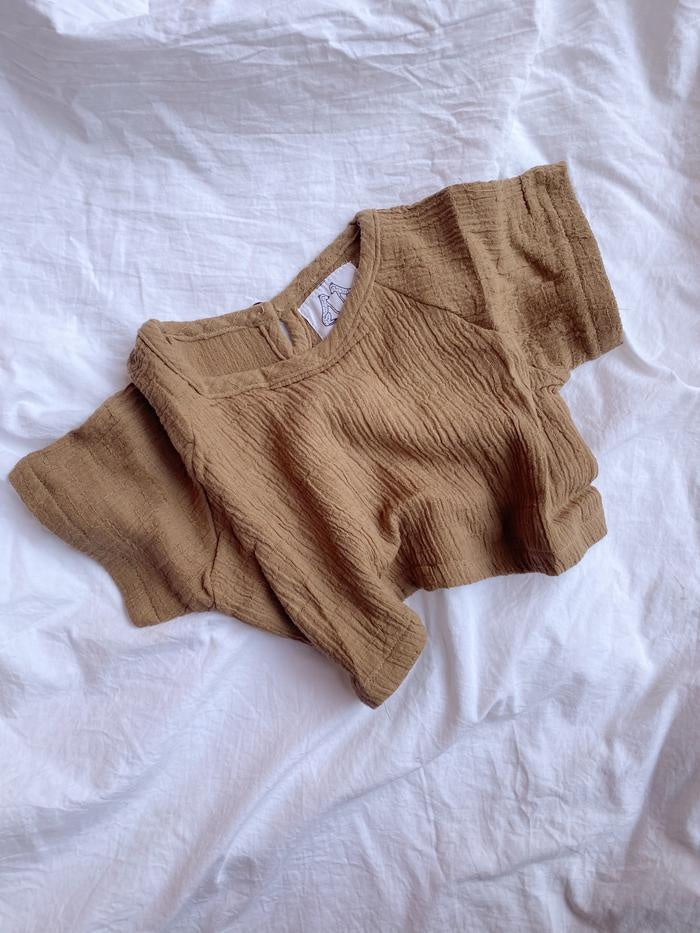 by billie textured cotton top walnut