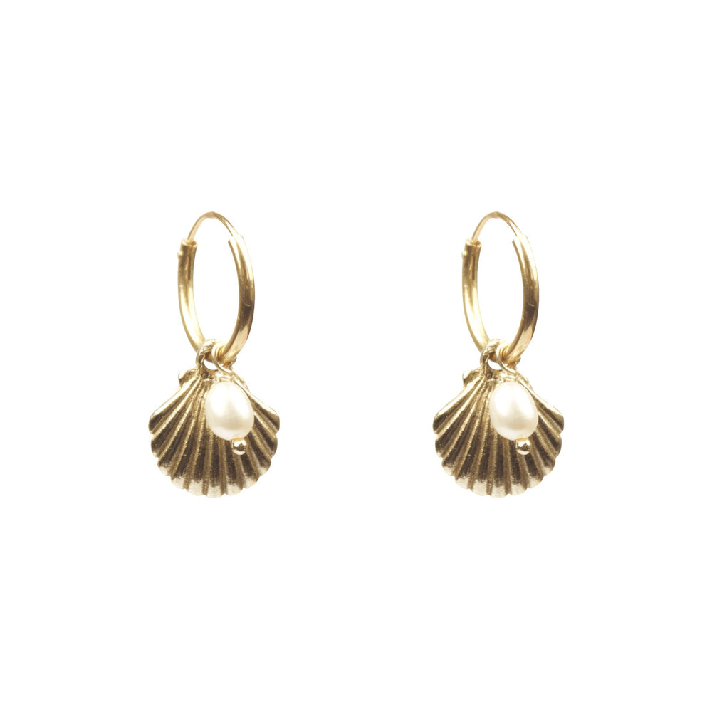 a la shell with freshwater pearl earrings