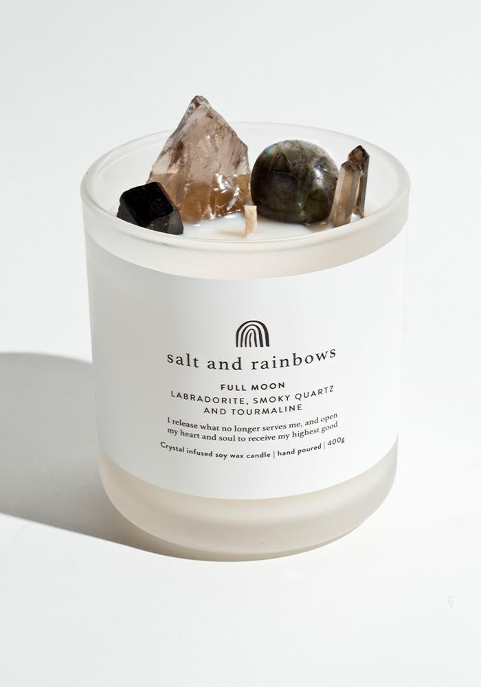 salt and rainbows full moon candle in leather and oudh