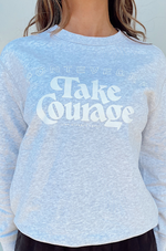 take courage sweatshirt white marle with white