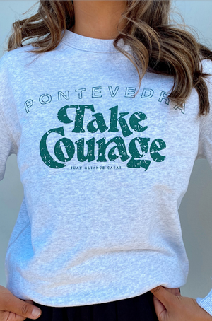 take courage sweatshirt white marle with vintage green
