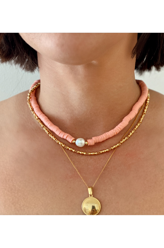 beaded pearl choker necklace coral