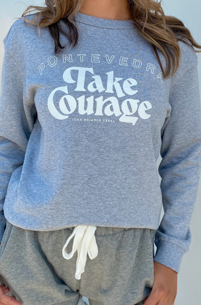 take courage sweatshirt grey marle with white