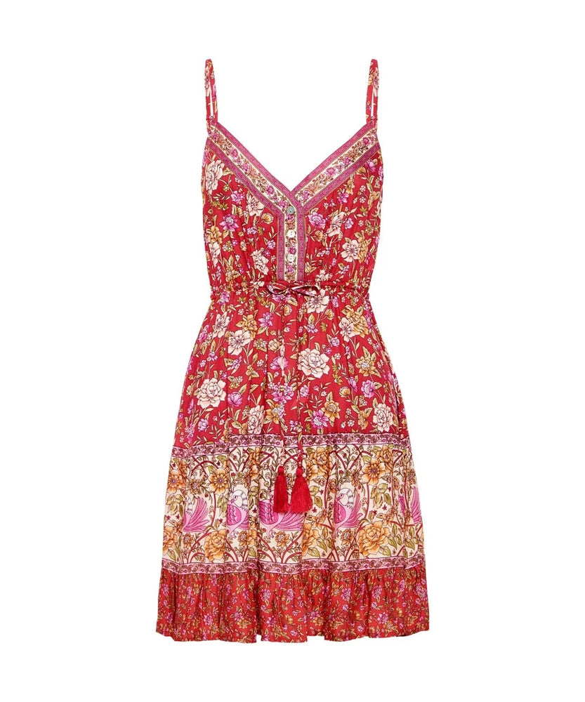 arnhem jasmine strappy mini dress campari