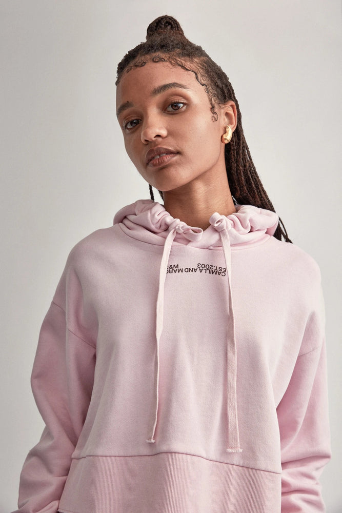 c&m marvin cropped hoodie ice pink