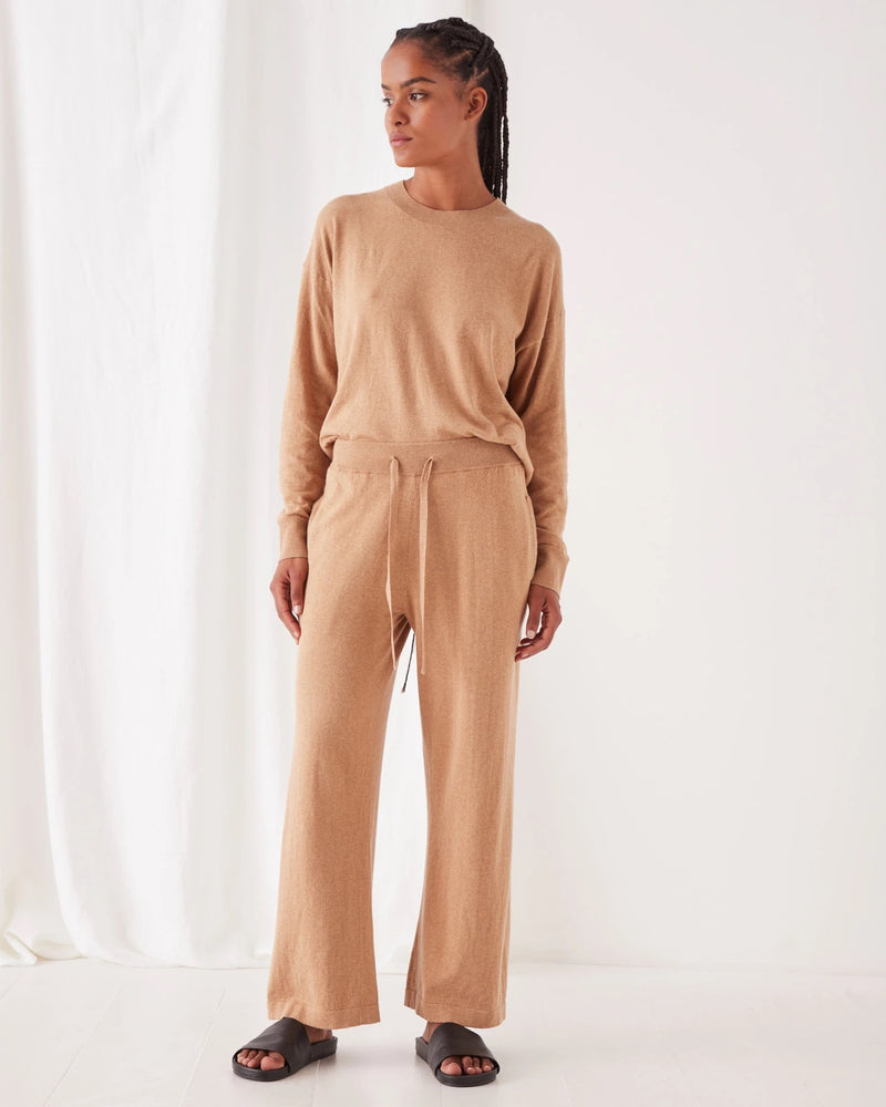 assembly label cashmere wide leg pant taupe