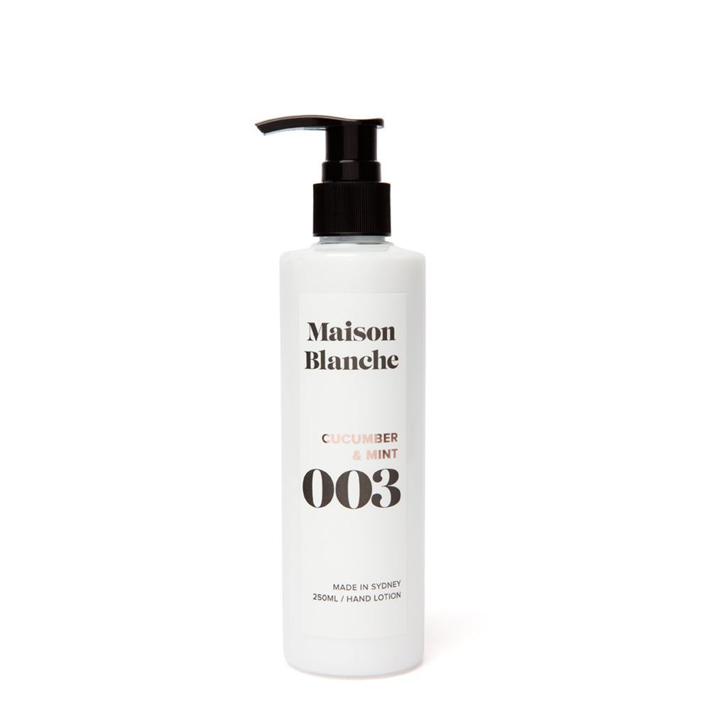 maison blanche cucumber and mint hand lotion