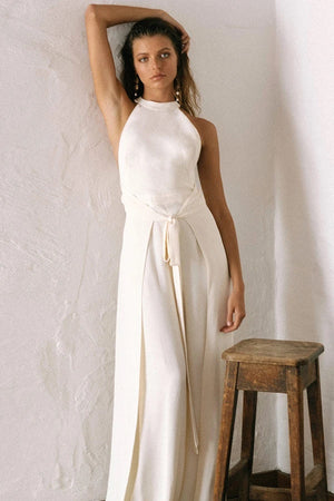 shona joy lautner high neck jumpsuit cream