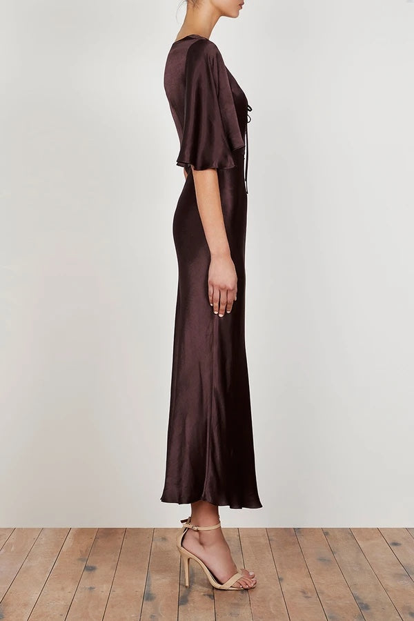 shona joy wright flutter sleeve bias slip dress espresso