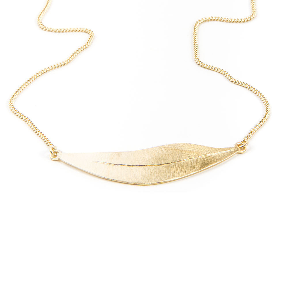 fairley alexa leaf necklace gold