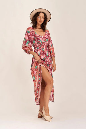 arnhem amberley prairie midi dress ruby