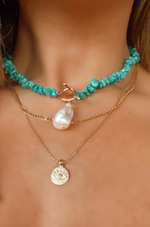 pearl and turquoise lariat choker necklace with gold toggle