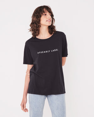 assembly label logo crew tee black
