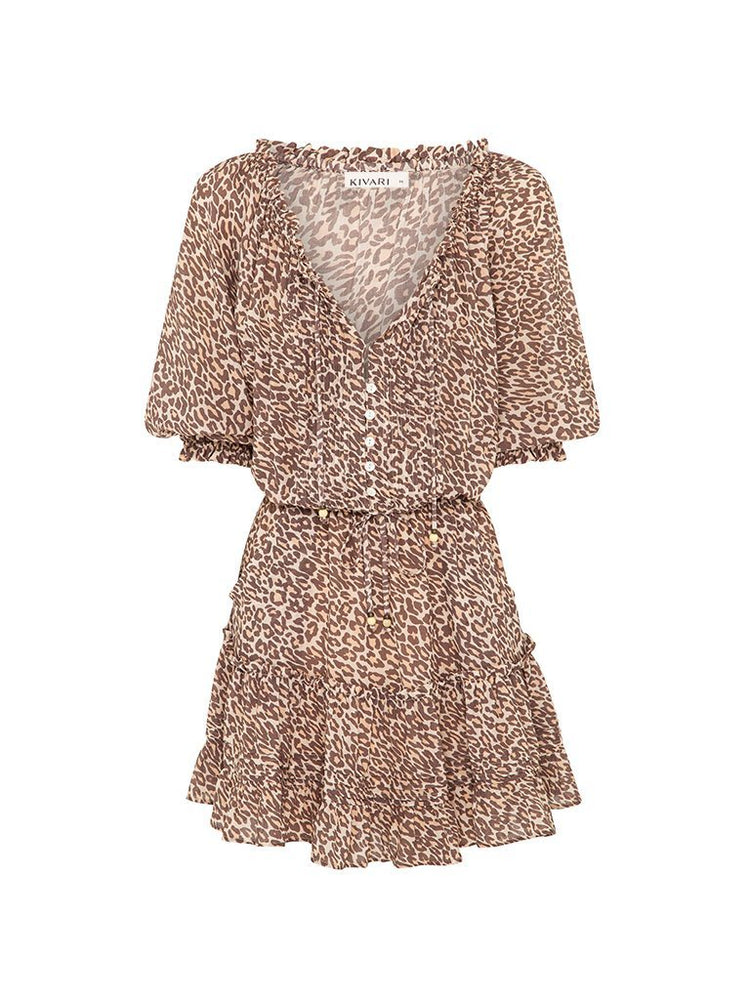 kivari alena leopard mini dress