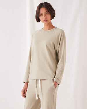 assembly label kin fleece top washed khaki