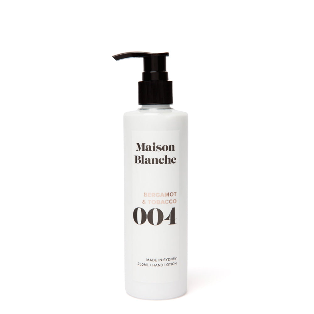 maison blanche bergamot and tobacco hand lotion