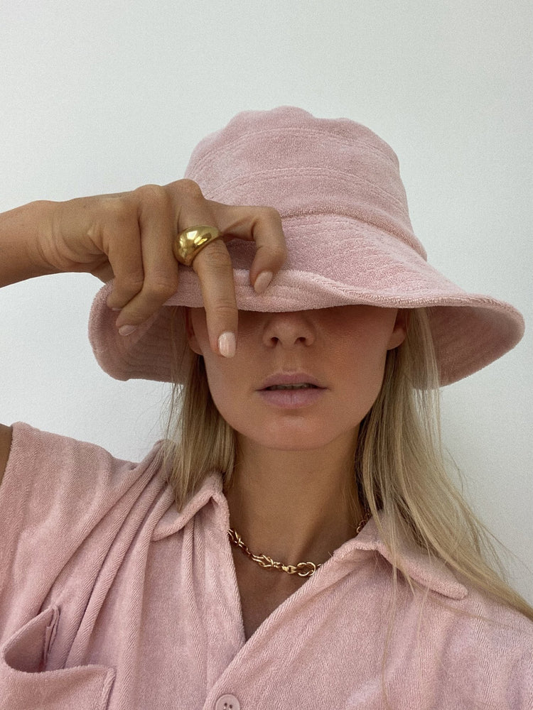 araminta james terry bucket hat dusty rose