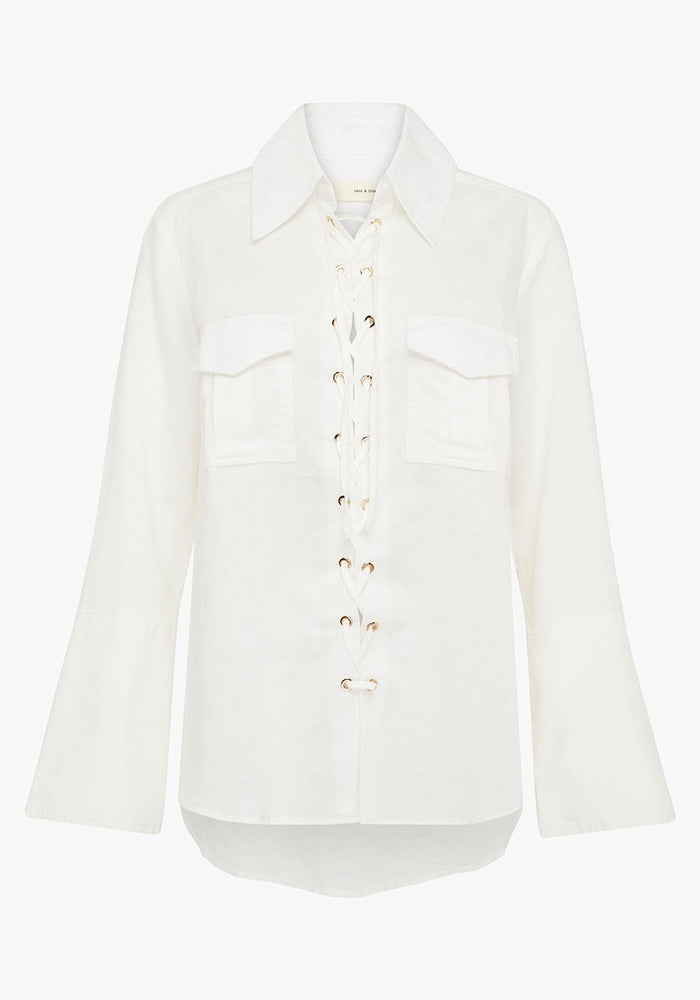 sass and bide why so serious shirt ivory